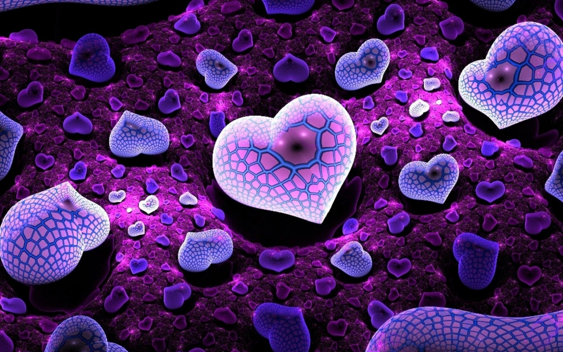 Beautiful Purple Hearts Hd Wallpaper Latest Wallpapers Hd